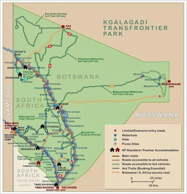Carte du Kgalagadi Transfrontier Park