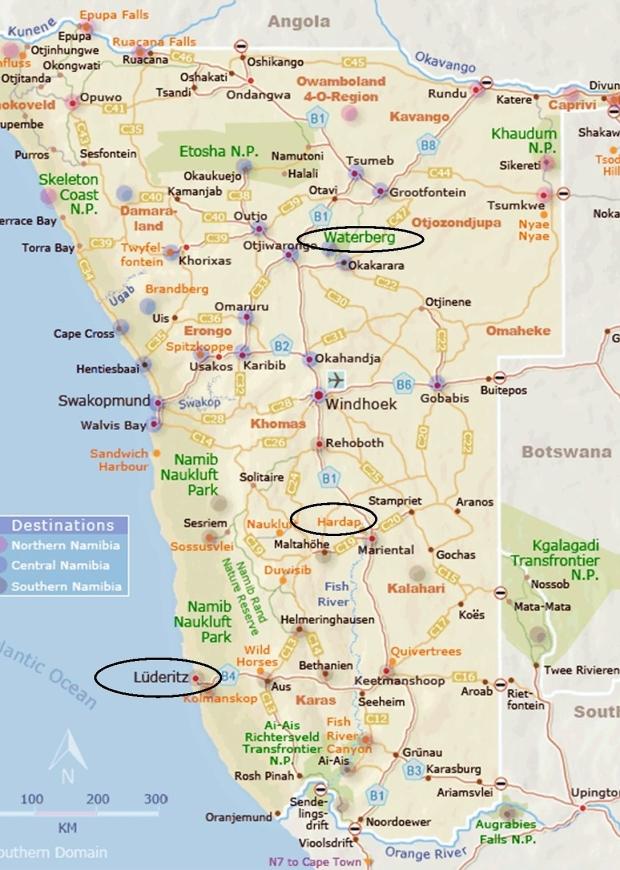 carte de notre trajet retour